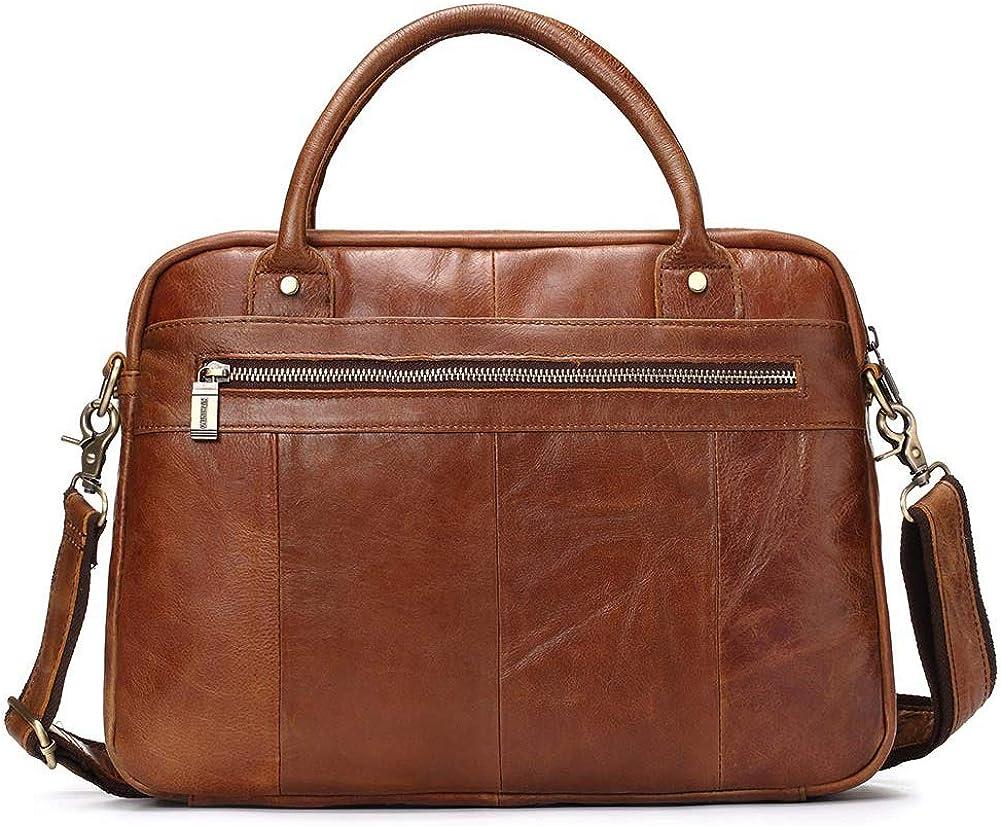 13,3 Zoll Retro Leder Laptop Messenger Bag Office Aktentasche College Bag Herren Leder Aktentasche Brown