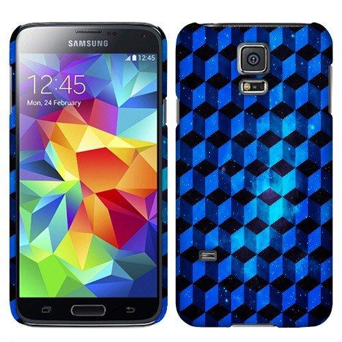 Fincibo (TM) Samsung Galaxy S5 mini G800 Back Cover Hard Plastic Protector Case - Blue Galaxy Cube Pattern