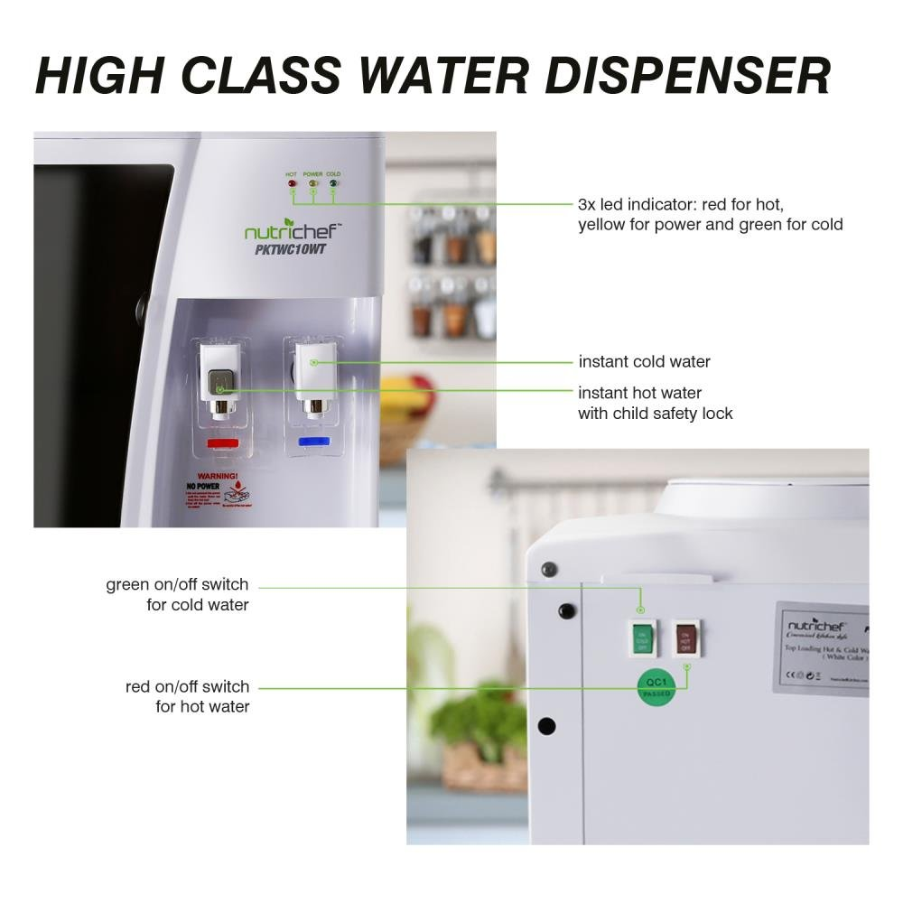 Nutrichef Countertop Water Cooler Dispenser - Hot & Cold Water, with Child Safety Lock. (White) by NutriChef (Image #4)
