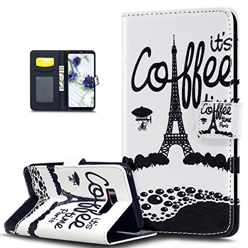 Galaxy S8 Case,Galaxy S8 Cover,ikasus Colorful Art Painted Pattern Premium PU Leather Fold Wallet Pouch Case Wallet Flip Stand Protective Case Cover for Samsung Galaxy S8,Eiffel Tower Coffee