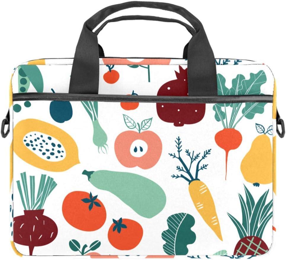 Colorful Doodle Fruits and Vegetables Laptop Case Canvas Pattern Briefcase Sleeve Laptop Shoulder Messenger Bag Case Sleeve for 13.4-14.5 inch Apple Laptop Briefcase