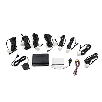 Sourcingmap Coche 8 Sensores de Aparcamiento Reversa Alarma Zumbador Kit Blanco