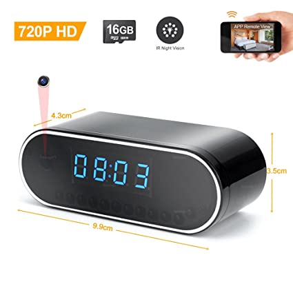 TEKMAGIC 16GB 1280x720P HD Reloj Despertador WiFi Red Espía Cámara Mini DV Videocámara Portátil Grabador de