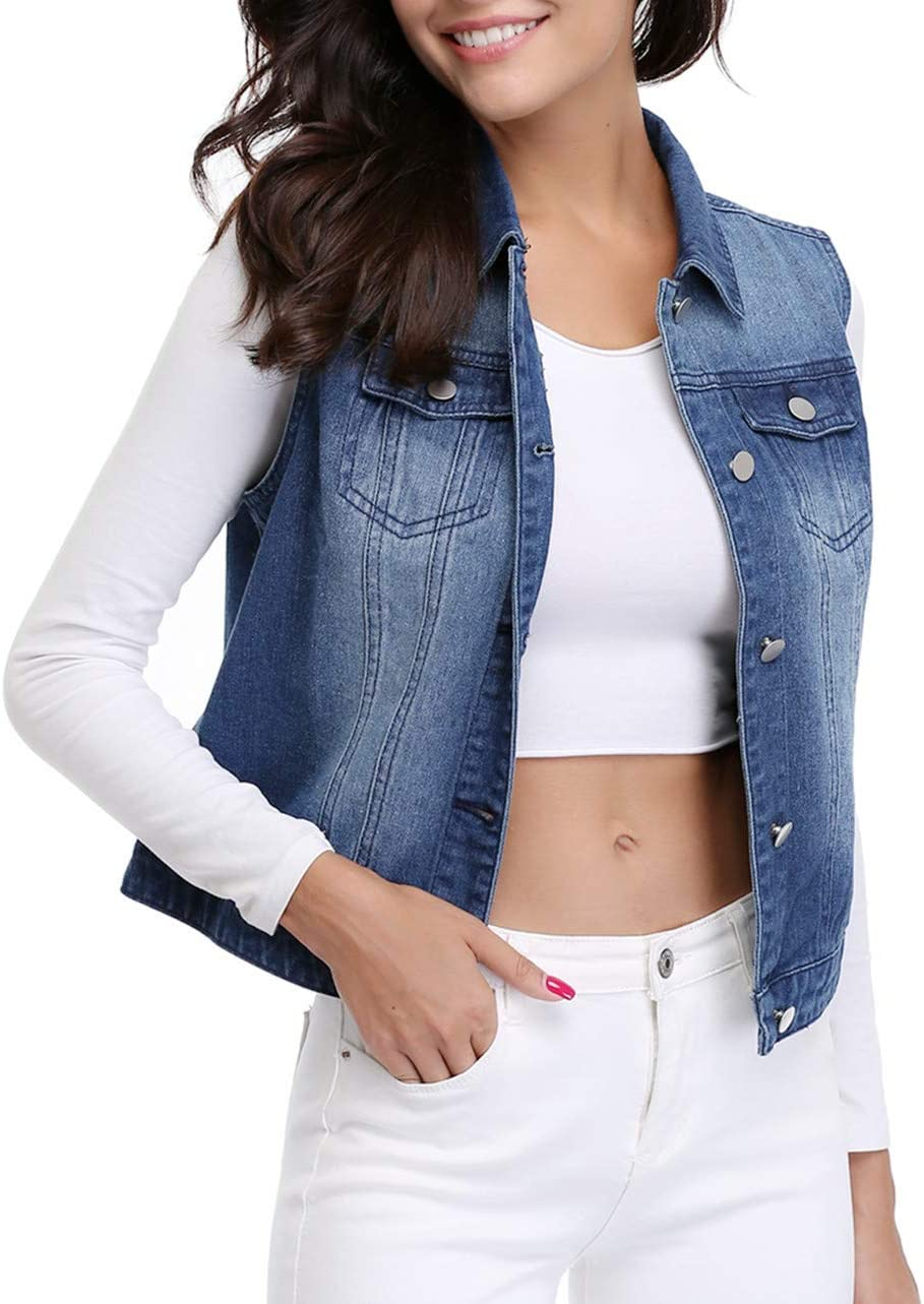MISS MOLY Women/'s Cropped Denim Jacket Frayed Washed Button Up Casual Jean Jacket Vest w 2 Side Pockets