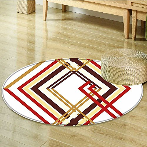Round Area Rug Carpet Retro Like Border Lined Design Ruby Caramel Brown and Tan Living Dinning Room and Bedroom Rugs-Round 59