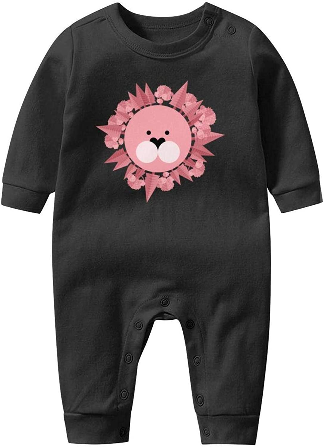 GFJHBVNBVC Cute Lion Fill with Pink Landscape Crazy Newborn Crawling Suit Lone-Sleeved Romper Bodysuit