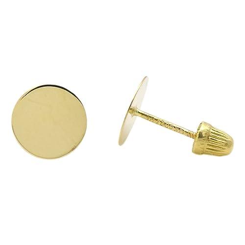 1c149bb4e Amazon.com: 7mm Flat Disk Geometric Minimalism Design 14k Gold Screw Back Stud  Earrings: Toys & Games