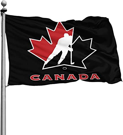 Canada National Ice Hockey Team Logo Decorative Garden Flags,Durable Polyester Banner Double Stitched and Fade Resistant Flags with Brass Grommets for Indoors Outdoors 3 X 5 Ft