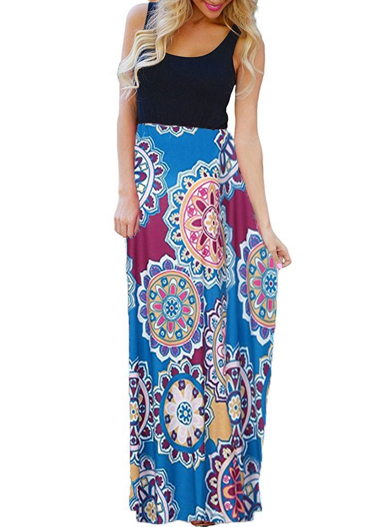 OURS Women's Summer Sleeveless Floral Print Bohemian Beach Tank Dresses Maxi Dresses (Y-Pattern4, S)
