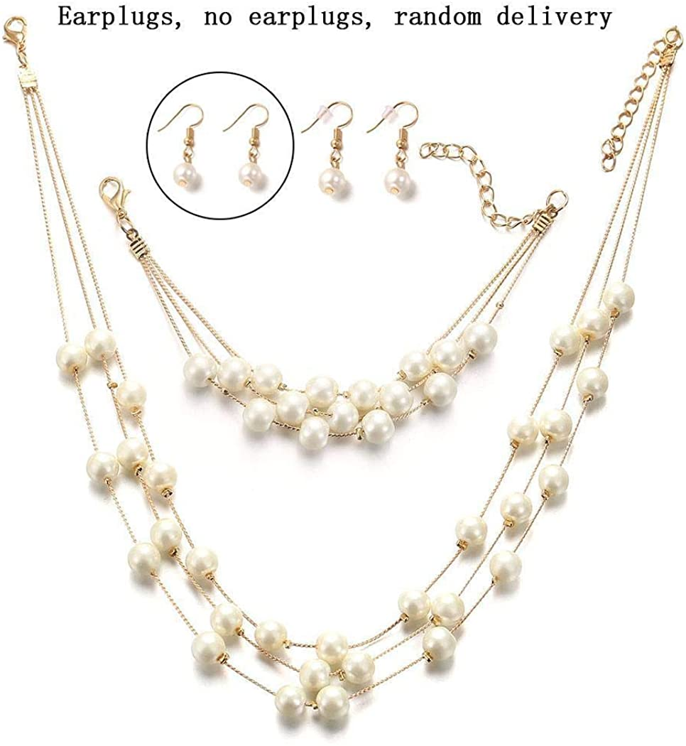 Acecor Silver Gold Faux PearlsNecklace Earrings Ring Bracelet Jewelry Set Costume Wedding Jewelry Sets