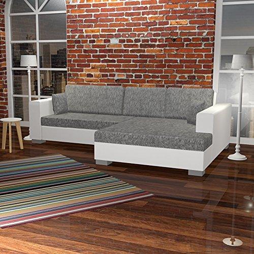 lounge-zone Ecksofa CHILL Schlafsofe Schlaffunktion und Bettkasten grau weiss 268x163cm Fußteil rechts 6852
