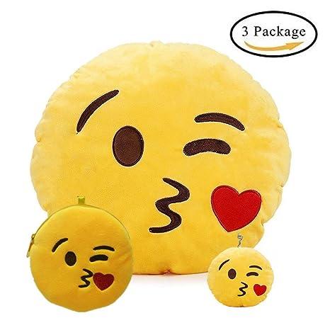 Cojín Almohada Redonda , Emoji Emoticono Sonriente Amarillo ...