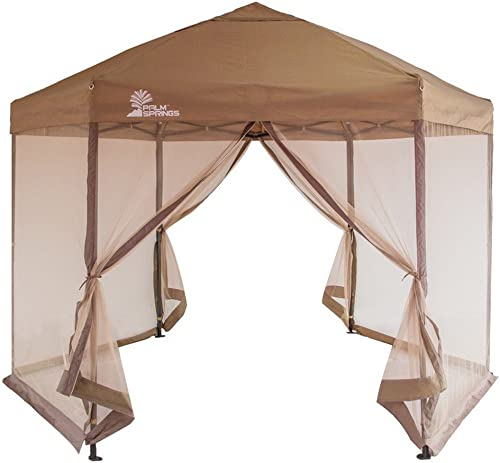 Palm Springs Hexagonal Pop Up Canopy Gazebo Tent with Mosquito Mesh Walls