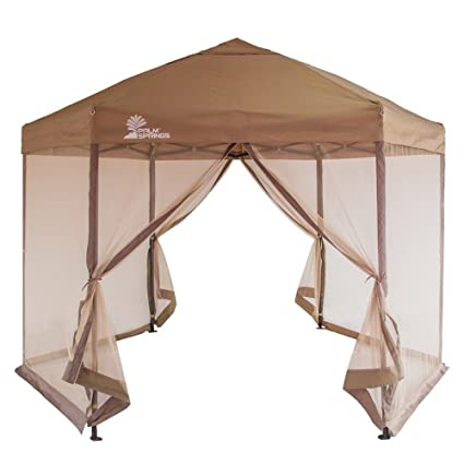 Amazon.com Palm Springs Hexagonal Pop Up Canopy Gazebo Tent with Mosquito Mesh Walls Garden u0026 Outdoor  sc 1 st  Amazon.com & Amazon.com: Palm Springs Hexagonal Pop Up Canopy Gazebo Tent with ...