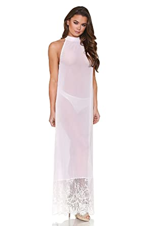 Tease Womens Long Sheer White Halter Style Nightgown One Size