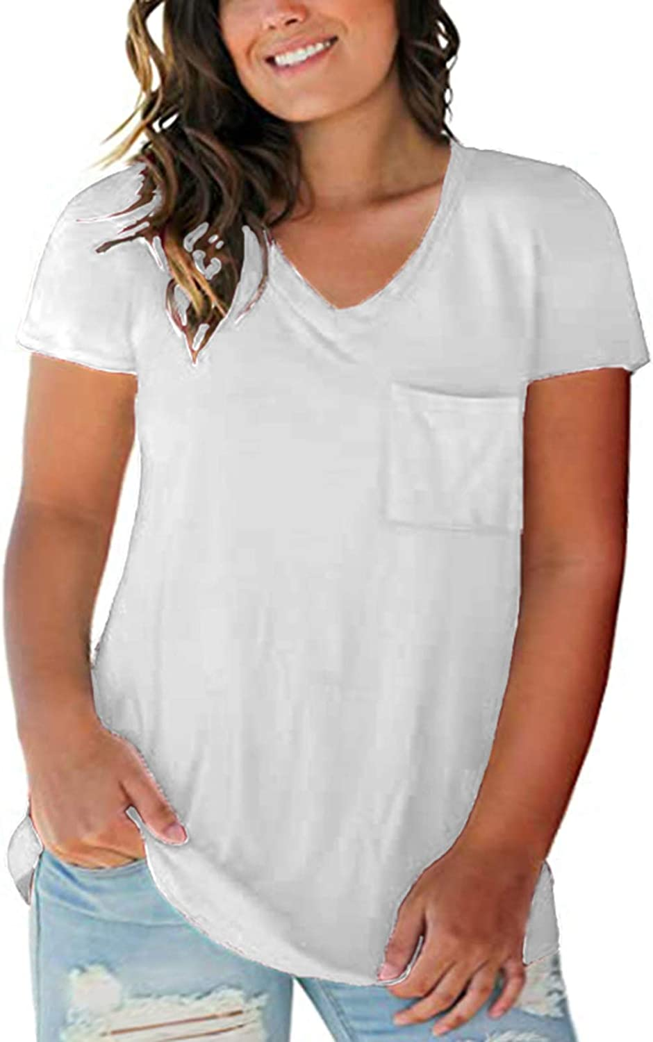 Pangxiannv Womens Short Sleeve Round Neck T Shirt Plus-Size Tunic Summer Tops Casual Loose Fitted Graphic Tees