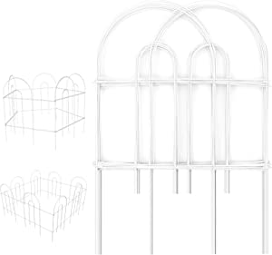 Amagabeli Decorative Garden Fence 18 in x 50 ft Rustproof White Iron Landscape Wire Folding Fencing Ornamental Panel Garden Border Fence Edge Section Edging Patio Flower Bed Fencing Outdoor Fences