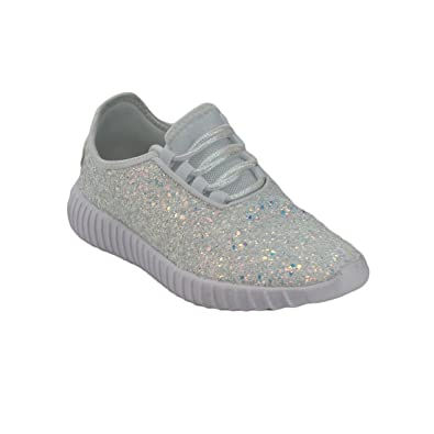 dc7ce4f196ee Amazon.com | Forever Link Women's Remy-18 Glitter Lace-Up Low Top ...