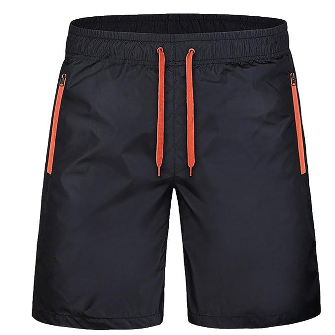 1d2eb17346ba Juqilu Kurze Sporthose Herren - Jogging Shorts Mode Einfarbig Elastische  Taille Hose mit Reißverschluss Taschen Sommer