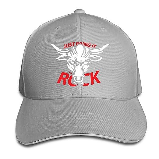 b1d6ea69107 Sports WWE Logo Just Bring It The Rock Pattern Snapback Hat Ash Sandwich  Peaked Cap