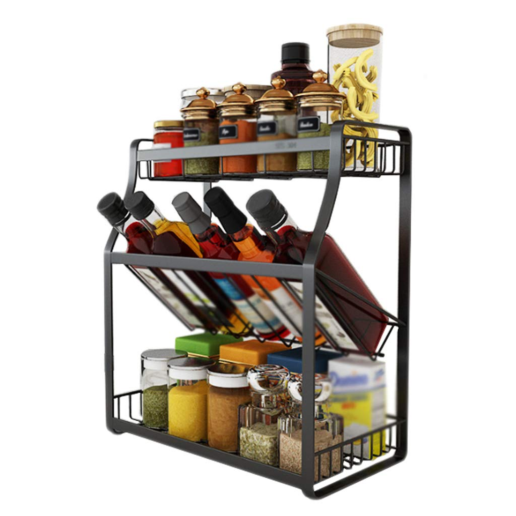 Three-Layer Seasoning Kitchen Rack 304 Stainless Steel Drain Oblique Floor Type Multi-Function Storage Home Free Punch MUMUJIN (Size : 35cm) by Kitchen shelf