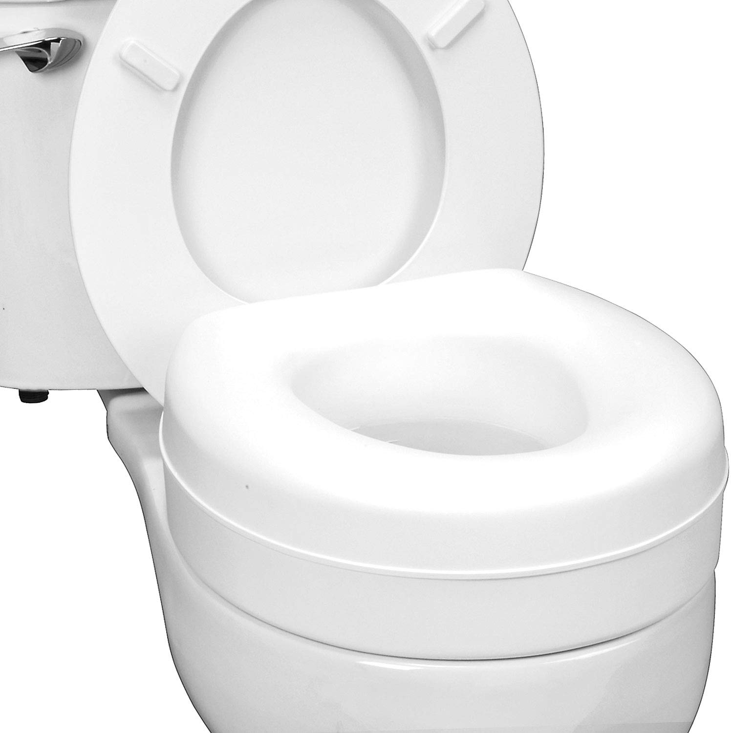 Fabulous Healthsmart Portable Elevated Raised Toilet Seat Riser That Fits Round And Elongated Seats White Inzonedesignstudio Interior Chair Design Inzonedesignstudiocom
