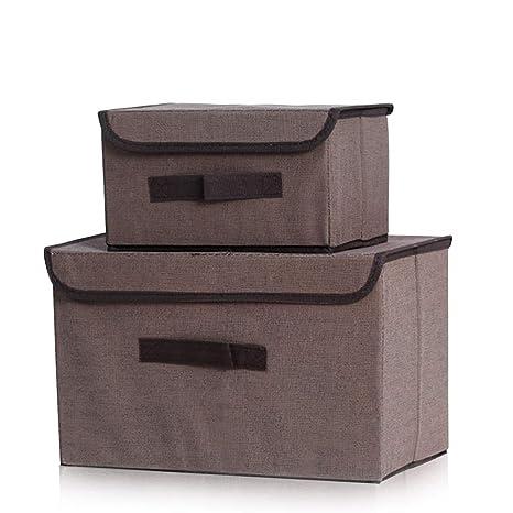 YFZYT 2 Piezas Establece Caja de Almacenamiento Plegable con Tapa y Maneja Tela Decorativa para Oficina