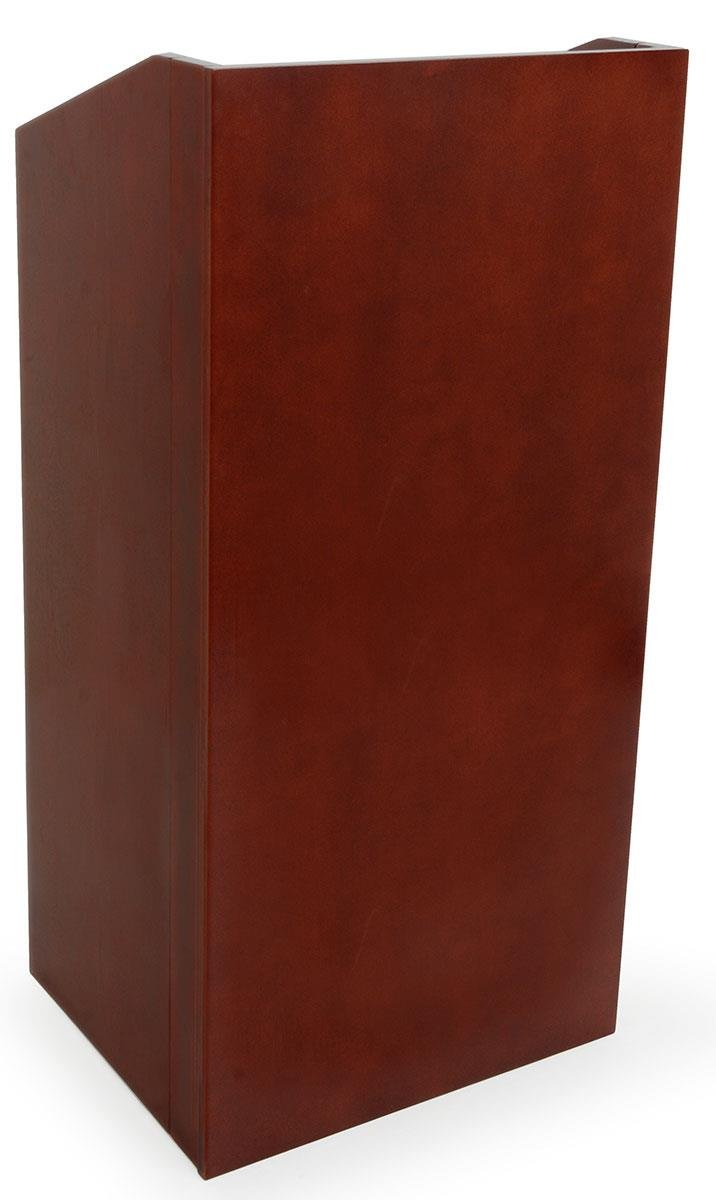 Displays2go 46-Inch Tall Mahogany Podium with Concealed Shelf, Collapsible Design (LCTSTFLDRM) by Displays2go
