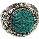 Padma Craft Unisex Dragon Green Dorje Indian Vintage Tibetan Silver-Tone White Metal Cuff Bracelet