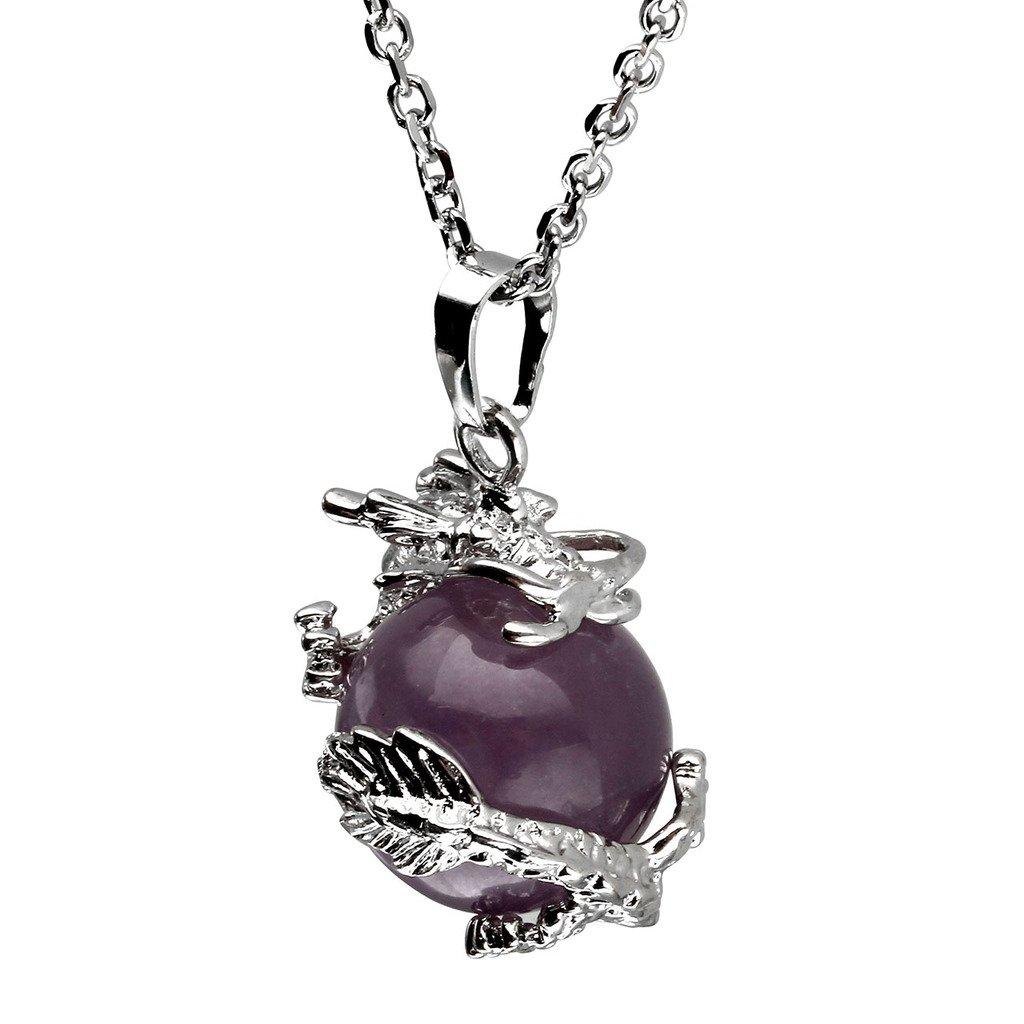 con ciondoli in cristallo prezioso di forma sferica e cilindrica JOVIVI con decorazione avvolgente a forma di dragone Set regalo comprensivo di collane con cofanetto regalo incluso