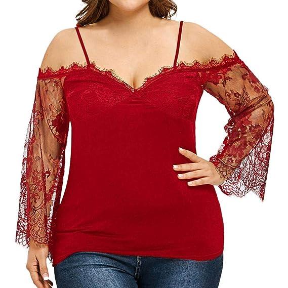Naturazy Ropa Camisetas Mujer,Tops Suelto Hombros Desnudos Color SóLido De Gran TamañO Fuera del