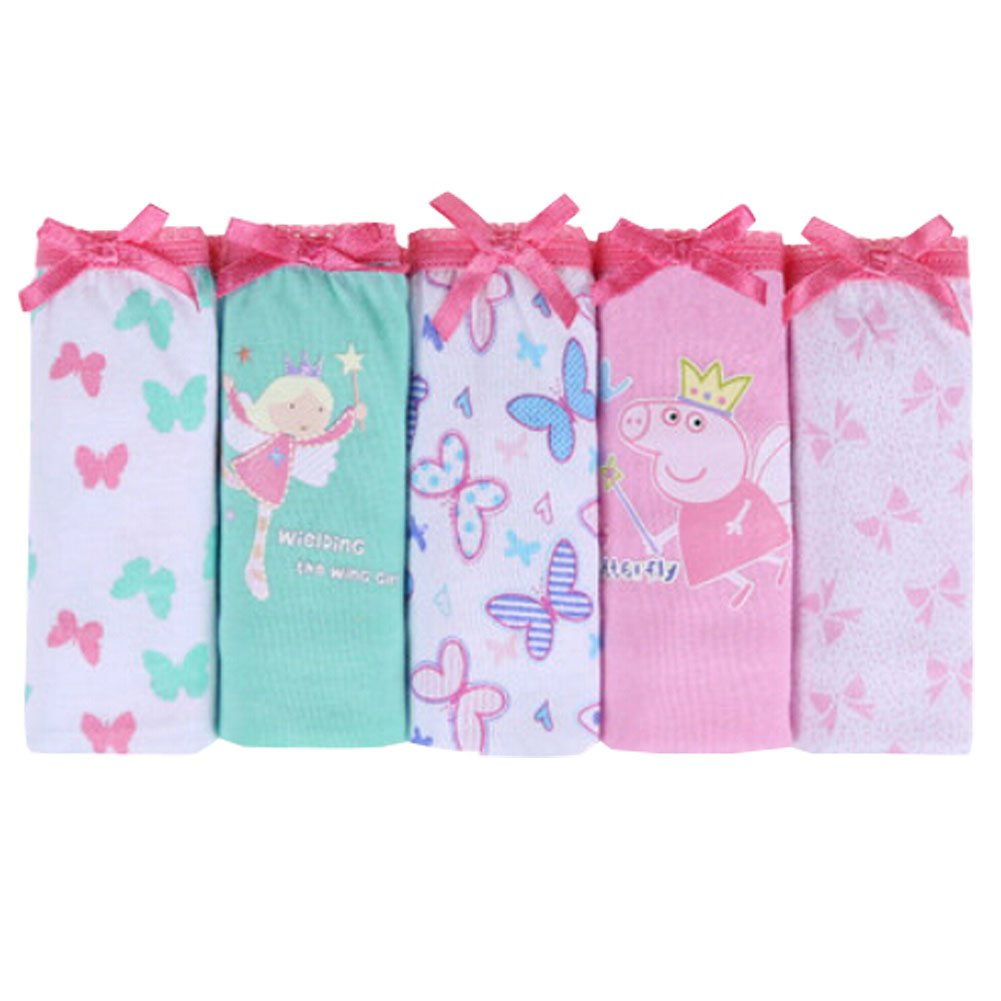 Lovely Girls' Butterfly & Angel 5 Pack Colorful Cotton Briefs Panties 100cm Blancho Bedding KE-CLO1288636011-CANDY00480