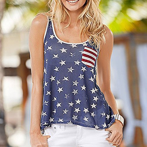 Bloomn Casual Tank Women's Flag Print Back Bow Vest T Shirts Women's Summer Sleeveless Blue by Bloomn (Image #3)
