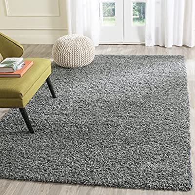 Safavieh Laguna Shag Collection SGL303G 2-inch Thick Area Rug, 4' x 6', Dark Grey - Safavieh's plush and stylish Laguna Shag area rug collection Versatile rug works beautifully in the living room, dining room, bedroom, foyer, or playroom Works effortlessly with contemporary, transitional, glam, and modern styles of décor - living-room-soft-furnishings, living-room, area-rugs - 61erb3kvwCL. SS400  -