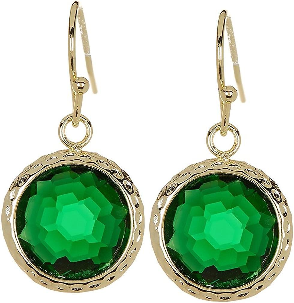 Pendientes de gota de cuarzo esmeralda redondos con revestimiento de oro martillado