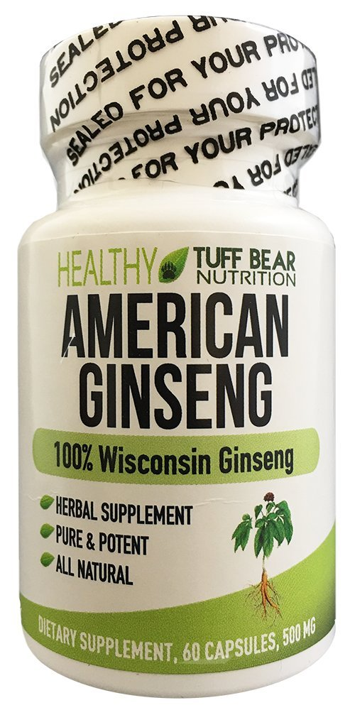 American Ginseng Capsules, 500mg 60 Capsules, BEST American Wisconsin Ginseng Supplements, Made with 100% Natural Pure Potent Herbal Panax American Wisconsin Ginseng Roots by TUFF BEAR