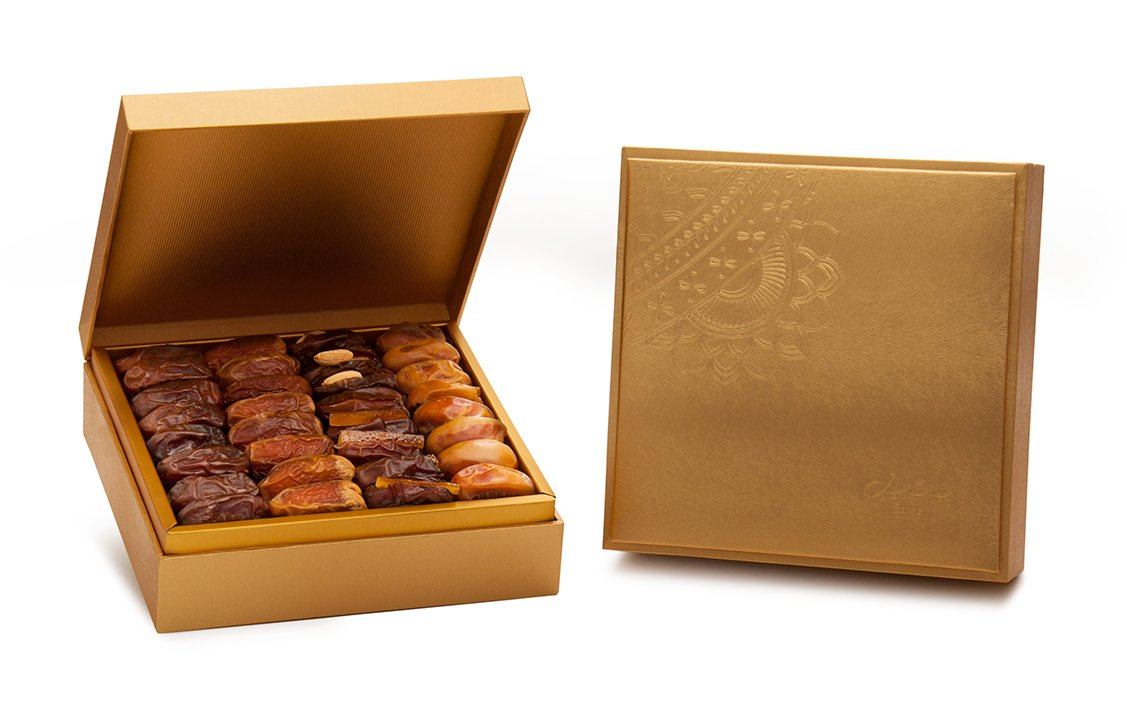 Danica Gold Gift Box with Gourmet Stuffed Dates (64 Pieces)