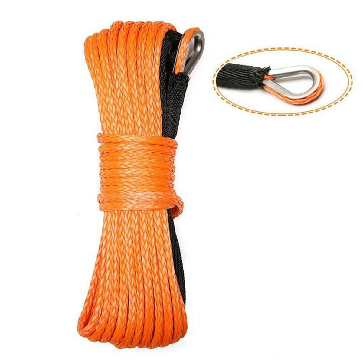 MOEBULB Car Synthetic Winch Rope Kit 5700+LBs 50'x1/4'' Winch Line Cable Sheath Winches ATV UTV SUV Truck Boat Ramsey Stainless Steel Thimble (Orange) by MOEBULB (Image #1)