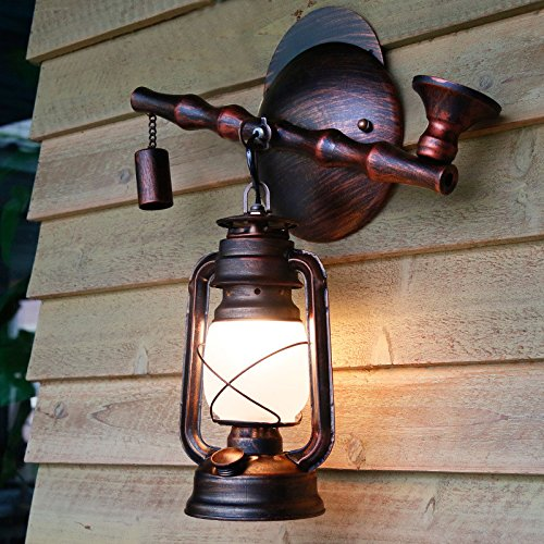American Retro Pipe Creative Iron Wall Lamp Restaurant Teahouse Bedroom Aisle Antique Kerosene Lantern Wall Light 360430Mm Outdoor Kids Living Room Bedroom Wedding Birthday Party Gift