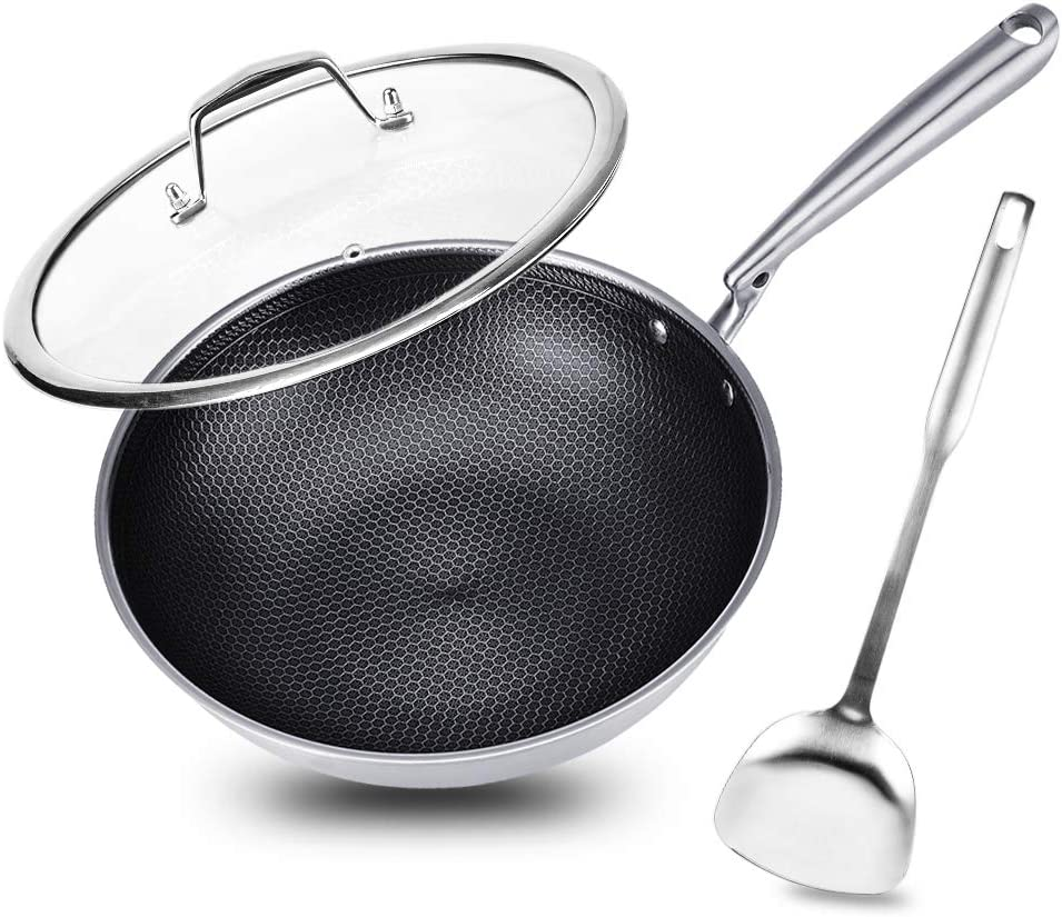 "Potinv 12.5"" Stainless Steel Wok, Nonstick Stir Fry Pan with Lid and Spatula, Induction Compatible, Scratch Resistant, Dishwasher and Oven Safe"