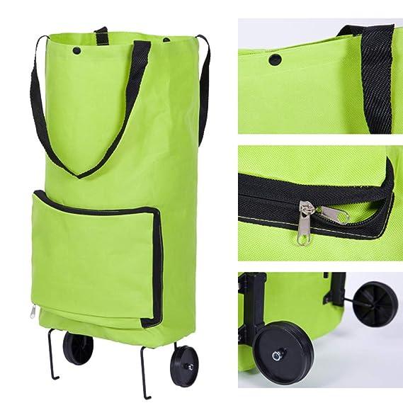 Amazon.com: Bolsas plegables con ruedas para la compra: Home ...