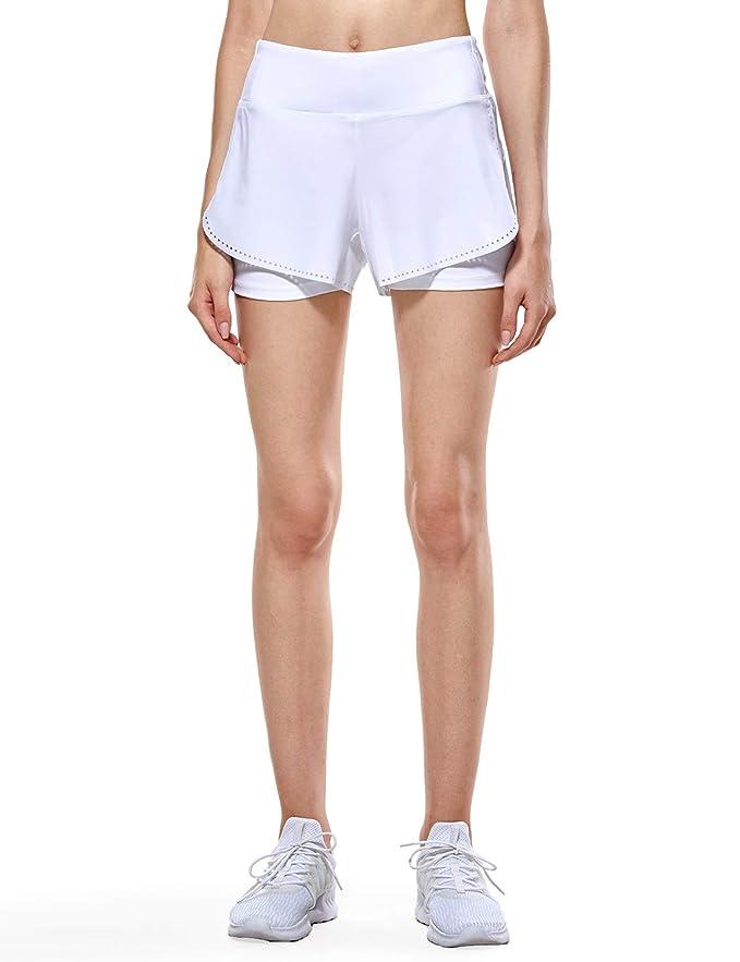 CRZ YOGA Pantalones Cortos Deporte Mujer Shorts 2 en 1 con Bolsillo Cremallera - 4 Inch