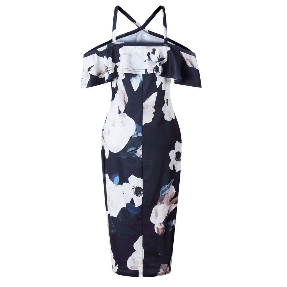 Women Printing Cross Off Shoulder Dress Evening Party Dress Sundress