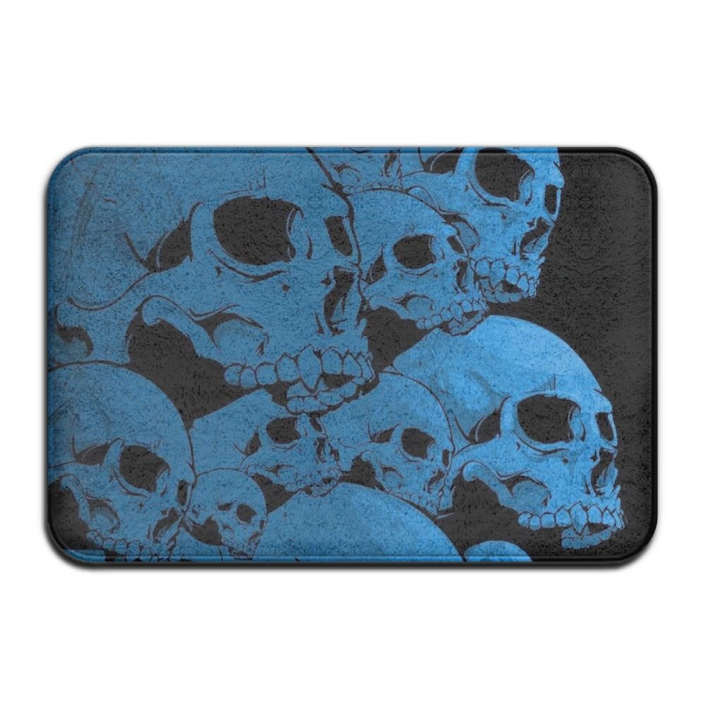 1 Piece Smart Dry Memory Foam Bath Kitchen Mat For Bathroom - Cool Blue Skull Black Shower Spa Rug 18x36 Door Mats Home Decor With Non Slip Backing - 3 Sizes