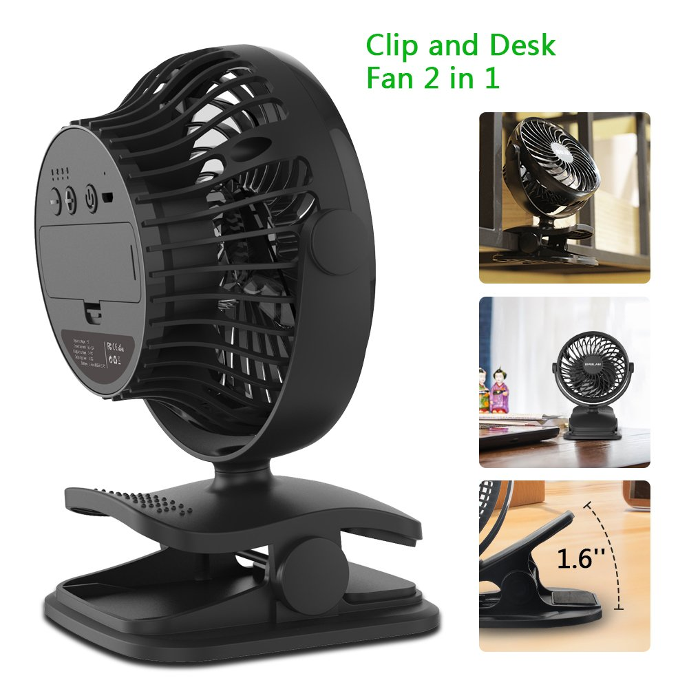 OPOLAR Battery Operated Fan, Clip on and Desk Fan, Personal Portable Fan with 4 Speeds, Rechargeable, 360 Degree Rotation, 2200mAh Battery, Powerful Wind for Baby Stroller,Outdoor Activity, Office by OPOLAR (Image #2)