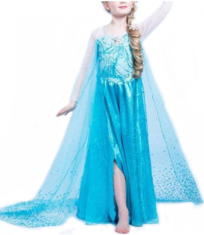 D/éguisement Princesse Frozen Costume Fille Carnaval Anniversaire Elsa Nice Sport Robe Reine des Neiges Enfant