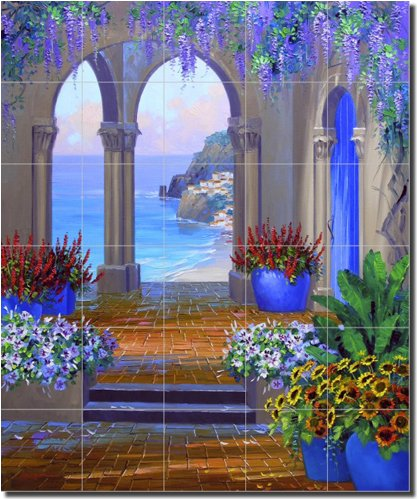 ''Whispering Arches'' by Mikki Senkarik - Artwork On Tile Ceramic Mural 25.5'' x 21.25'' Kitchen Shower Backsplash