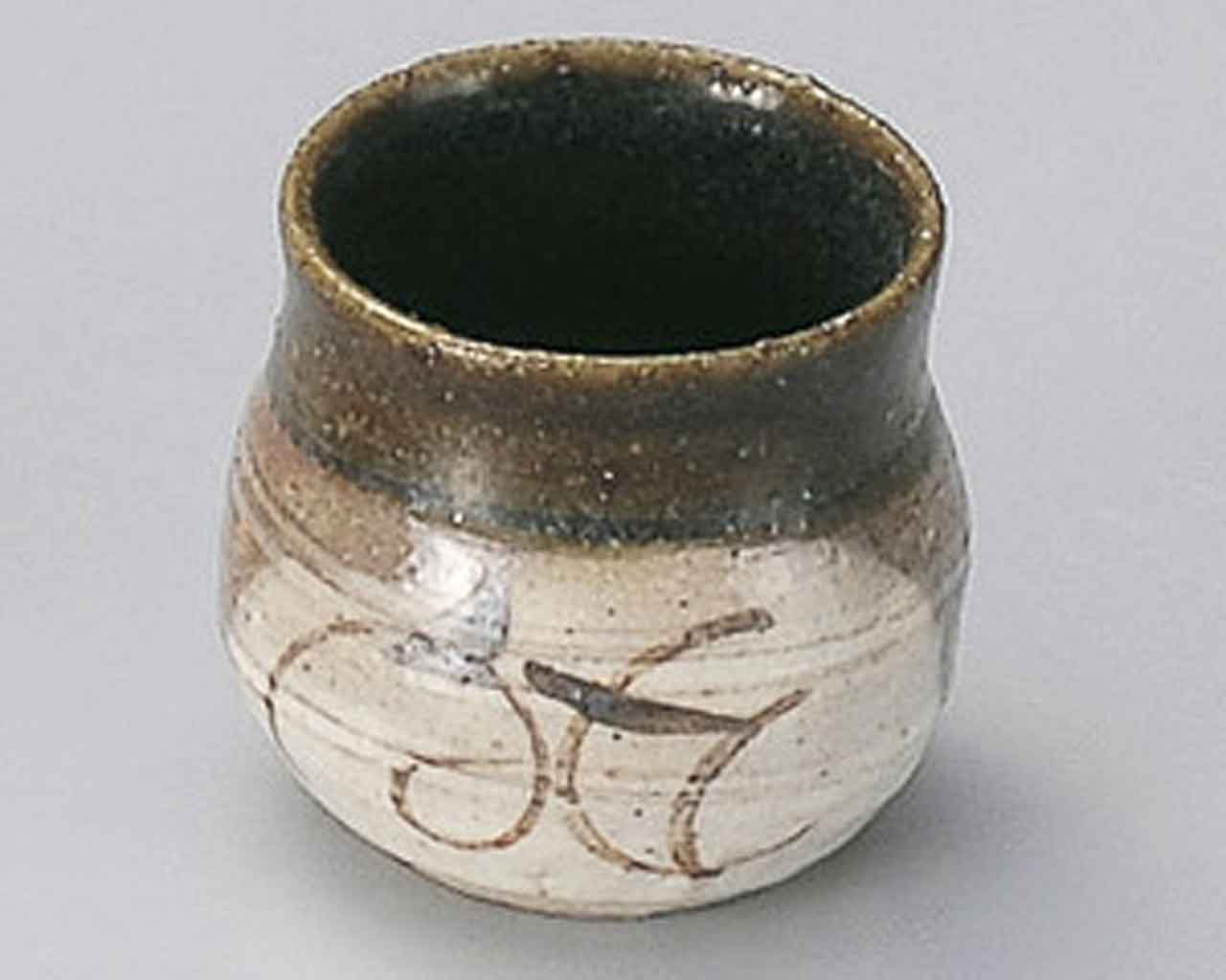 Momoyama Oribe 2.1inch Set of 2 Toothpick holders Beige Ceramic Made in Japan by Watou.asia