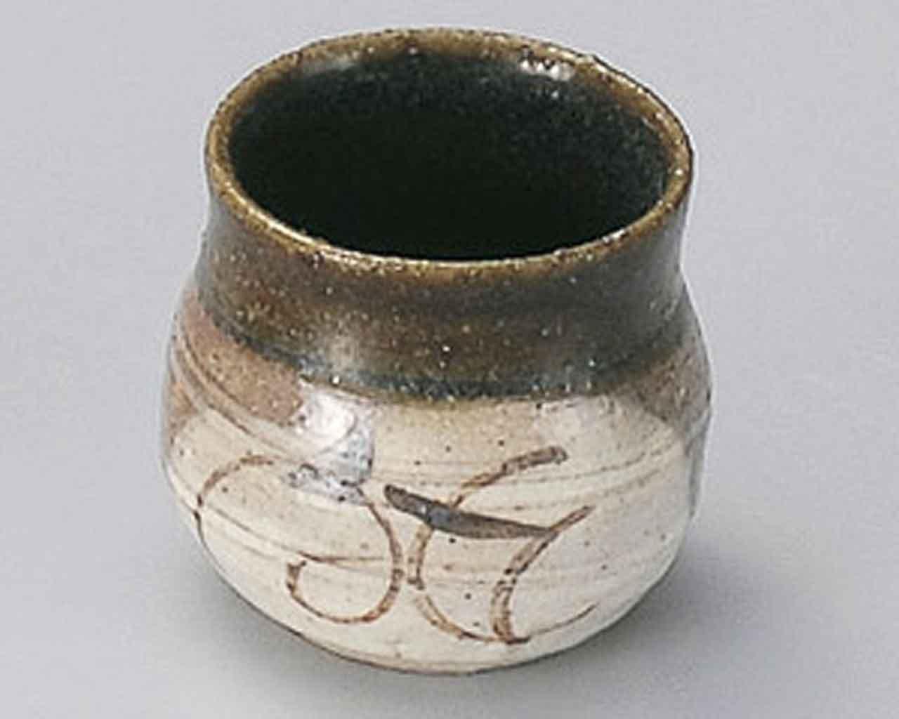 Momoyama Oribe 2.1inch Set of 2 Toothpick holders Beige Ceramic Made in Japan