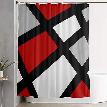 Amazon Red Gray Black White Geometric 60 X 72 Inch Bath Curtain